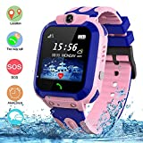 SZBXD Kids Waterproof Smart Watch, LBS/GPS Tracker Touchscreen SOS Anti-Lost Camera Alarm Clock Voice Chat Games Smartwatch Phone Birthday Gifts for Children Girls Boys(Pink)