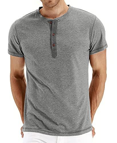 Polo Hombre Manga Corta Verano con Botones Básicos Tapeta Hombre Shirt Transpirable Cómoda Hombre T-Shirt Color Sólido Tendencia Moda Absorbe Hombre Shirt Ocio F-Grey M