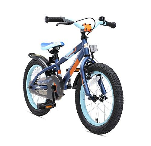 BIKESTAR Kinderfahrrad 16 Zoll für Mädchen und Jungen ab 4-5 Jahre | 16er Kinderrad Mountainbike | Fahrrad für Kinder Blau & Orange | Risikofrei Testen