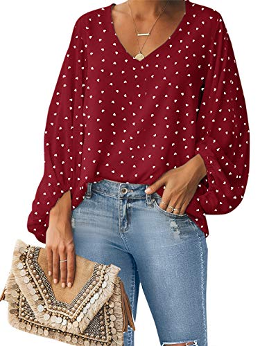 Style Dome Camisas para Mujer Verano Camiseta Manga Larga Blusa de Gasa con Escote en V Estampado Lunares Moda Tops Mujer Fiesta Rojo XL