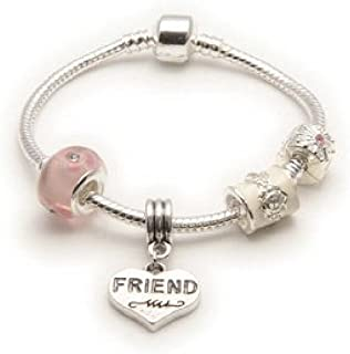 Liberty Charms Friend 'Pink Parfait' Silver Plated Charm/Bead Bracelet