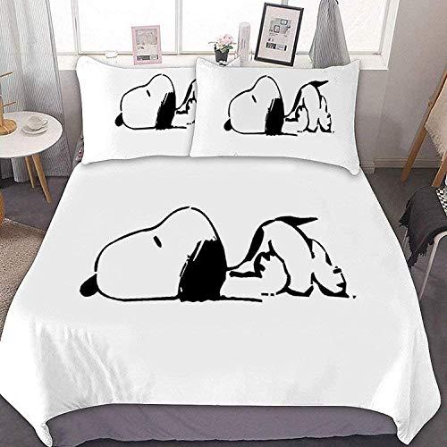 QWAS Juego de cama con diseño de Snoopy, 3 piezas, 1 funda nórdica y 2 fundas de almohada, funda...