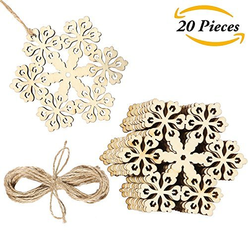 Set of 20 Wooden Hanging Snowflake Ornaments