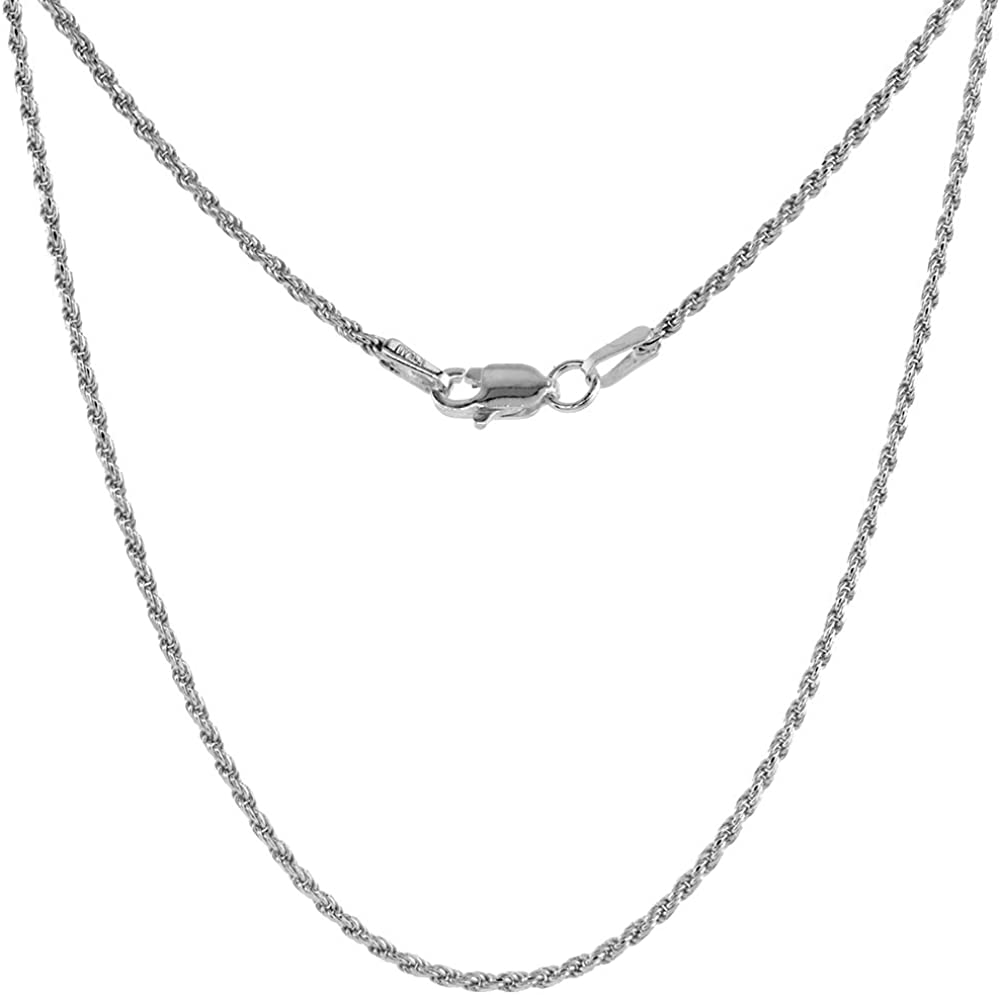 Thin 1.5mm Sterling Silver Diamond Cut Rope Chain Necklace for W