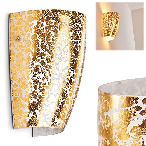 Wandleuchte Severo, Wandlampe aus Glas in Gold, Wandspot in Blattgold-Optik, 1-flammig mit Up&Down-Effekt, 1 x E27 max. 60 Watt, Wandstrahler mit Lichteffekt, LED geeignet