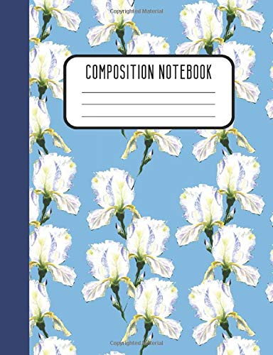 Composition Notebook: Watercolor Blue Iris Designer College Ruled Blank Lined Journal or Notepad