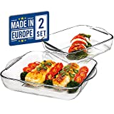 CRYSTALIA Glass Baking Dish for Oven, Casserole Dish, Square Baking Trays for Oven, Borosilicate Glass for Baking, Set of 2 PCs