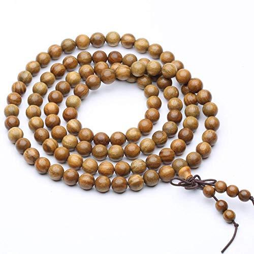 MU-PPX Grüne Sandelholz Malas Holz Perlen Armbänder 108 Malas Armband, Perlen 8Mm