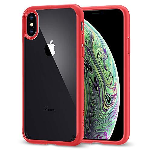 Spigen Ultra Hybrid Hülle Kompatibel mit iPhone XS und Kompatibel mit iPhone X -Rot