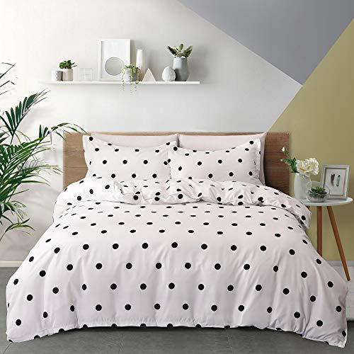 GLDDAFOR Bedding Comforter Set Soft 3Pcs Black Polka dots Three Piece Set Supreme Lightweight Microfiber Duvet Cover Simplicity Set(1 Duvet Cover + 2 Pillow Shams)(Queen,White)