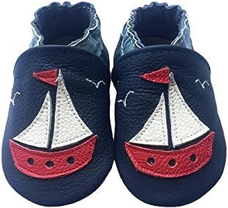 Free Fisher - Patucos de Piel para niño, color negro, talla S, 0-6 meses