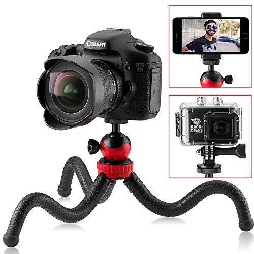 "Flexible Tripod for iPhone, 12"" Smartphone Tripod + High-Speed Bluetooth Remote for iPhone, Samsung, Compact Gorilla Tripod Stand 360° for GoPro, Cell Phone and DSLR Camera (Tripod)"