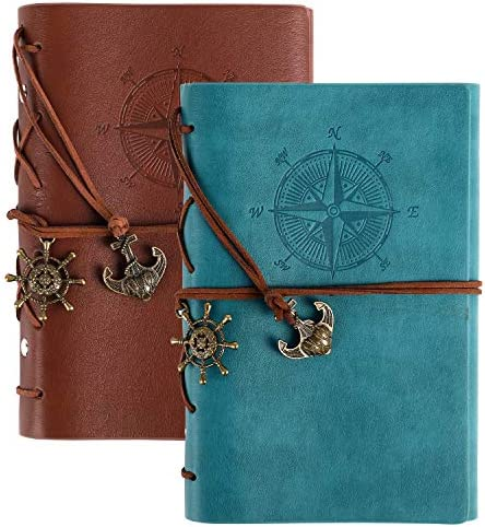 EOOUT 2pcs Leather Writing Journal Notebook Refillable Spiral Daily Notebook Lined Paper Travel product image