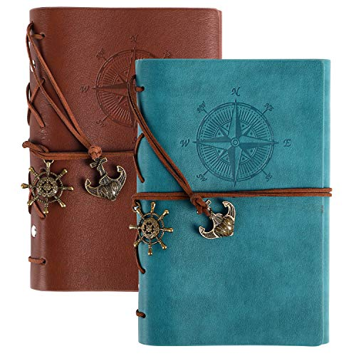 EOOUT 2pcs Leather Writing Journal Notebook, Refillable Spiral Daily Notebook, Lined Paper, Travel Journals to Write in for Women and Men, Ideal Gifts for Teen Girls and Boys