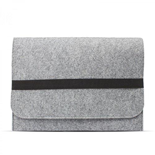 eFabrik Schutz Hülle für Lenovo Miix 510 Tasche 12,2 Zoll (auch für Lenovo Miix 310, Miix 700 & Miix 720 geeignet) Ultrabook Laptop Hülle Soft Cover Schutztasche Schutzhülle Sleeve Filz hell grau