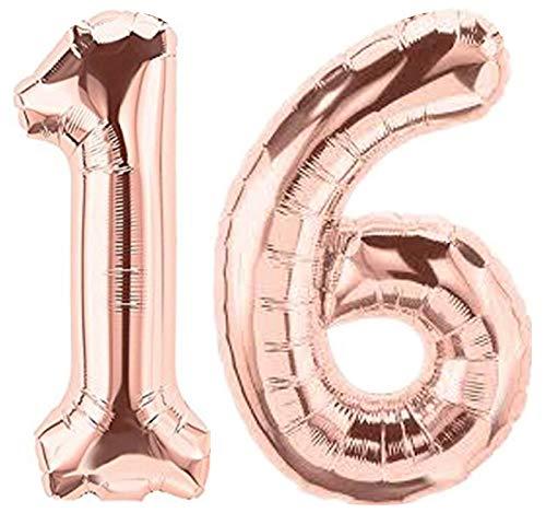 Folienballon Zahl 16 Rosa XL ca. 72 cm hoch - Zahlenballon/Luftballon rosegold für Geburtstagsparty, Jubiläum oder sonstige feierliche Anlässe (Nummer 16)