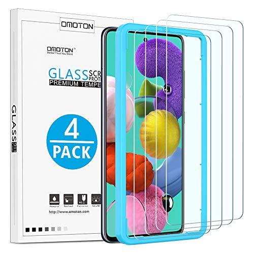 OMOTON Protector Pantalla Compatible con Samsung Galaxy A51 Cristal Templado para Samsung Galaxy A51, Anti-Burbujas, Anti-despegamiento, Transparente [4 Piezas]