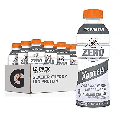 Gatorade Zero With Protein, 10g Whey Protein Isolate, Zero Sugar, Electrolytes, Glacier Cherry, 16.9 Fl Oz, 12 Pack