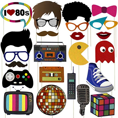 80s Party Photobooth Accessories Set with 24 Props