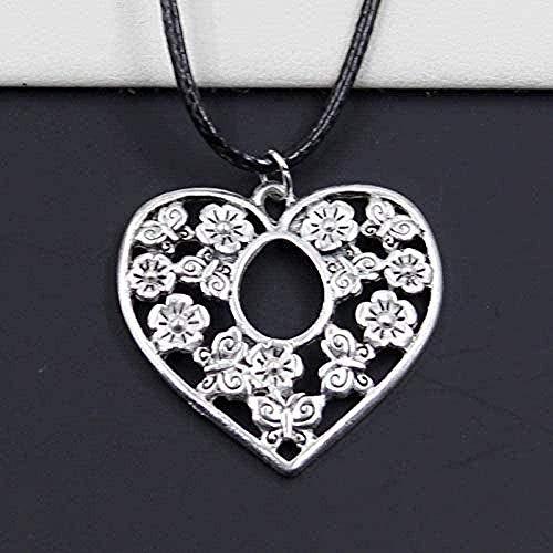 CCXXYANG Co.,ltd Necklace Fashion Heart Flower Tibetan Silver Pendant Necklace Choker Charm Black Leather Cord Handmade Gift