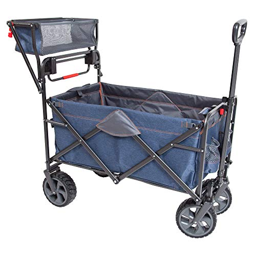 MacSports WPP-100 Heavy Duty Push Pull Collapsible All Terrain Utility Cart Wagon, Denim Blue