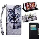 ZTE Blade L5 Hülle,3D Muster Handschlaufe Brieftasche Hülle Schutzhülle Tasche Magnet Handytasche PU Leder Handyhülle mit Karteneinschub Fall Ständer Cover für ZTE Blade L5/ L5 Plus (Wolf)