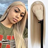 QD-Tizer Ash Blonde Hair Long Straight Synthetic Lace Front Wigs for Fashion Women Heat Resistant Synthetic Wigs 24 inch