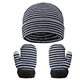 VBIGER - Set di guanti invernali per bambini, in maglia, per autunno, inverno Blu Taglia Unica