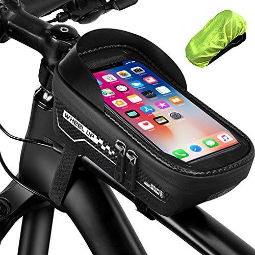 otumixx Fahrrad Rahmentasche Wasserdicht Fahrrad Handyhalterung für Navi, Fahrrad Lenkertasche Oberrohrtasche TPU Touchschirm mit Sonnenblende und Regenschutz für Handy bis zu 6,5 Zoll