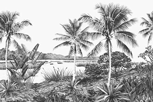 fotobehang tropisch landschap met palmbomen zwart en wit - 158901 - van ESTAhome