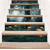 YFXGSTLI Calabaza De Halloween Etiqueta De La Pared Extraíble Pegatinas Creativas Dormitorio Escaleras Decoración para El Hogar Decorativo Papel De Parede para Quarto 6 Unids/Set 100X18Cm