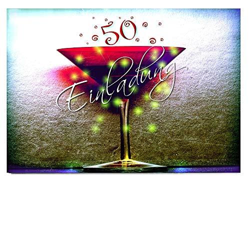 DigitalOase 10 Einladungskarten 50. Geburtstag MIT INNENTEXT 50. Jubiläum Geburtstagskarten MENGE WÄHLBAR Klappkarten Kuverts Format DIN A6#KELCHR (10)
