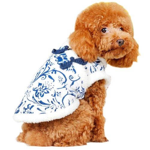 [Bleu et blanc Porcelaine] Dog Apparel Pet Vêtements Pet Apparel pour tour de poitrine de 15 à 17 en