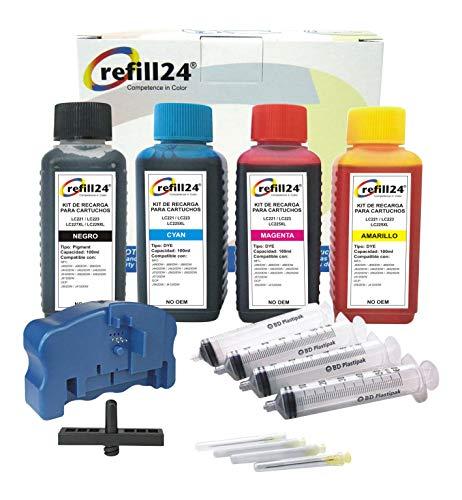 refill24 Komplettset mit Chipresetter kompatibel für Brother Patronen LC-223, LC-225, LC-227, LC-229Druckermodellen DCP-4120DW J562,MFC-J4420, J4620, J4625,5320,5620,5625,5720,480,680,880