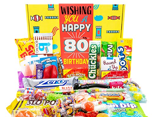 80th Birthday Candy Gift Basket with Childhood Candy