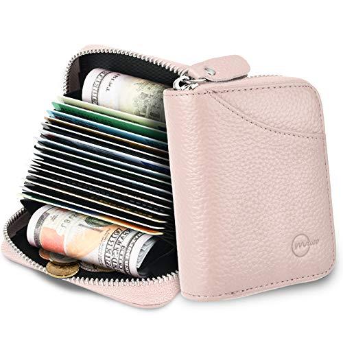 MUCO Tarjeteros para Tarjetas de Credito, RFID Wallet Pasaporte, Piel Auténtica, Titular de la Monederos con Cremallera (Rosado)