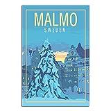 ZHBIN Schweden Vintage Reise-Poster Malmo Castle Leinwand