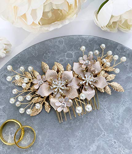 Wedding Hair Accessories Bridal Hair Comb Pearl and Gold Floral Hair Pin Headpiece - For Brides and Bridesmaids