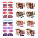 Lvjkes Auto-adhésifs Nail Sticker, 8 Feuilles Autocollant Ongle, Nail Art Stickers Nail Wraps pour Femmes Filles DIY Nail Salon, Coloré Bronzant Cristal Verre Nail Autocollant