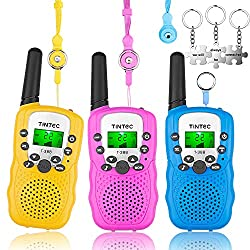 Tintec 3 Pack Walkie Talkies, 22 Channels 2 Way Radio Toy with Backlit LCD Flashlight, Long Range Distance for Kids, Outdoor Fun Toys Gift for Girls Boys Teens Toddlers Women Men[Extra 3 Lanyards]