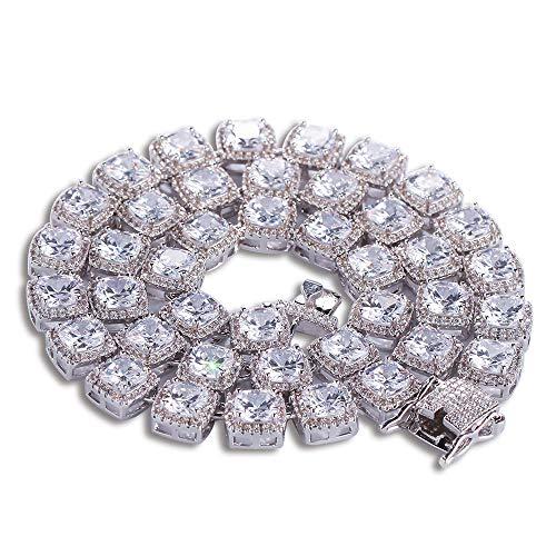 Zirkonia Tennis Halskette Herren, 1 Reihe 10 MM Hip Hop Iced Out Platz Funkelnde Luxus Tennis Link Ketten Halskette für Männer (Gold/Silber)