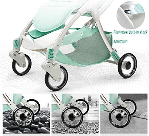 LAMTON Baby Stroller for Newborn, 4 Wheel Baby Stroller Lightweight High Landscape Travel System Foldable with Shock Absorbers from Birth, 40x100cm (Color : Green) LAMTON Adjustable handlebars for people of all heights can adjust the most comfortable push position Easy to fold, can be picked up in the trunk of the car, his parents urge him to go shopping, travel, walk, play and talk, or picnic outdoors ★ Aluminium alloy frame, sturdy, lightweight, durable, easy to store and travel 5
