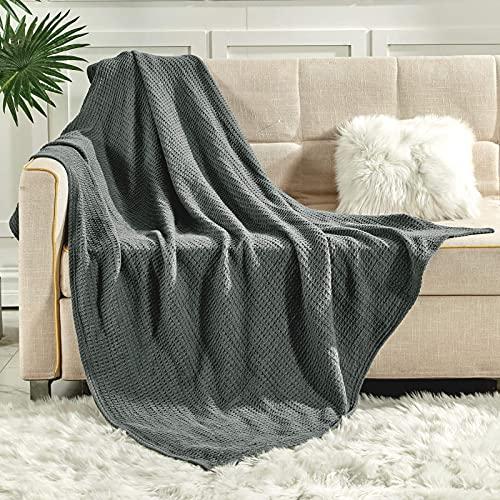 softan Tagesdecke 130 x 150 cm • Waffelpique leichte Sommerdecke aus 100% Baumwolle • Luftige Sofa-Decke...