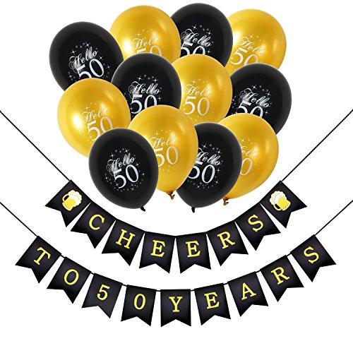 Konsait 50e Kit de décorations de fête d'anniversaire, Bannières de joyeux anniversaire 50, 30pcs Noir Argent et Or 50 Ballon de Latex pour 50 Ans anniversaire Articles de fête