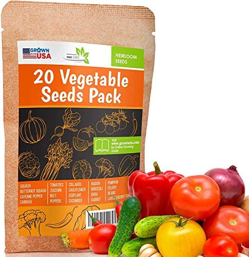 20 Favorite Vegetables Seeds Pack Heirloom and Non GMO Grown in USA Indoor or Outdoor Garden product image