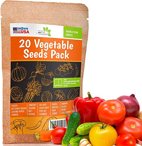 20 Favorite Vegetables Seeds Pack - Heirloom and Non GMO, Grown in USA - Indoor or Outdoor Garden - Tomatoes, Zucchini, Peppers, Cauliflower, Eggplant, Pumpkin, Carrot, Celery, Radish and More