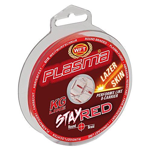 WFT Plasma Stay Red Lazer Skin 150m - Geflochtene Angelschnur zum Spinnfischen & Meeresangeln, Geflechtschnur, Schnur zum Angeln, Durchmesser/Tragkraft:0.12mm / 14kg Tragkraft