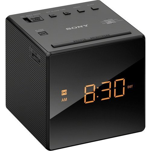 Sony AM/FM Compact Alarm Clock Radio with Easy to Read, Backlit LCD Display Plus 6ft Kubicle Aux Cable Bundle