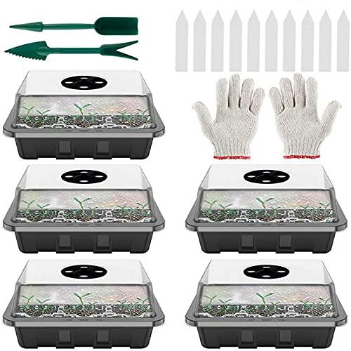 5 Piezas Bandejas Semilleros de Germinacion de Plastico,Plantas Bandeja de Plántulas,con Etiquetas Herramienta de Plantación y Trasplante para Brotado Cultivo de Invernadero Huerto (Negro)