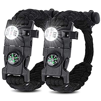 HNYYZL 22 in 1 Emergency Paracord Bracelet, 2 Pack Upgrade Tactical Paracord Bracelet Everyday Carry Gear- LED Light, Compass, Fire Starter, Whistle, Knife, Etc, for Outdoor Camping Hiking(Black)